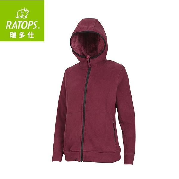 【瑞多仕 RATOPS 女 推毛防潑水夾克《牛津紅》】DH6-120/刷毛外套/中層衣/保暖外套
