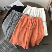 休閒運動五分短褲子女夏寬松直筒闊腿高腰抽繩薄款女褲【聚物優品】