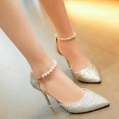 恨天高結婚水晶性感細帶5釐米甜美單鞋扣帶高跟鞋女細跟涼鞋恨天高女士 聖誕交換禮物