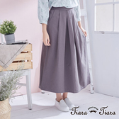【Tiara Tiara】aw 簡約優雅單色百摺半身裙(灰/黑)