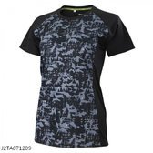 MIZUNO 女裝 短袖 上衣 T恤 慢跑 緹花網布 後領反光 黑【運動世界】J2TA071209