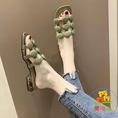 拖鞋女粗跟中跟鏤空拖鞋外穿時尚一字拖氣質拖鞋【樂淘淘】