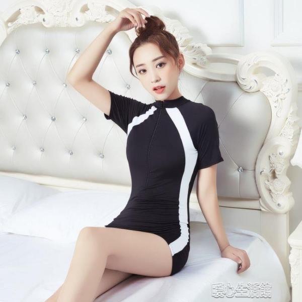連身泳衣高檔游泳衣女保守短袖款大碼學生韓版泡溫泉遮肚性感女童少女泳裝 快速出貨
