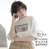 ❖ Autumn ❖ 照片打印圖案寬鬆落肩短袖T恤 - E hyphen world gallery