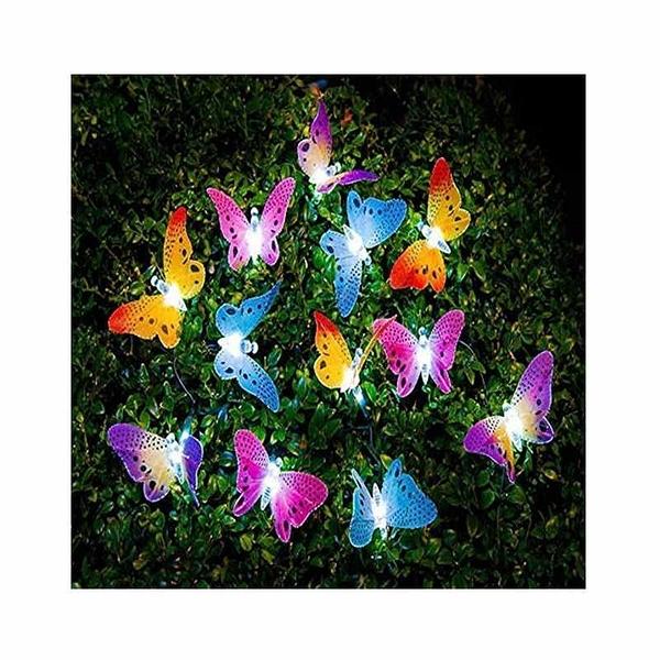戶外太陽能串燈 防水 12 LED Butterfly Solar String Lights Outdoor [2美國直購]