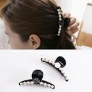 【NiNi Me】韓系髮飾 氣質甜美花朵水鑽珍珠馬尾夾抓夾 髮夾 H9503