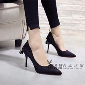 (好康免運)2018春季款 高跟鞋尖頭細跟 黑色淺口女鞋百搭蝴蝶結絨面性感單鞋