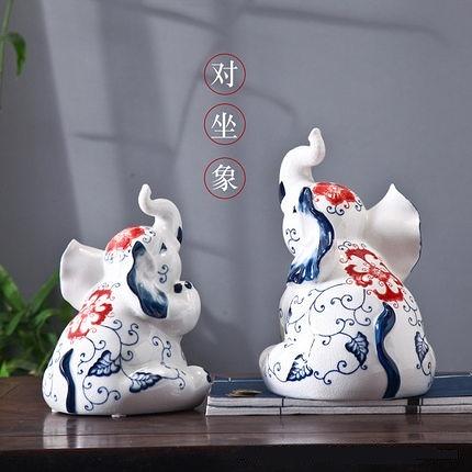 大象動物陶瓷擺件家居客廳電視柜裝飾品新中式現代樣