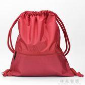 束口袋抽繩雙肩包男女收納包簡易戶外旅行運動健身背包拉繩包  韓風物語