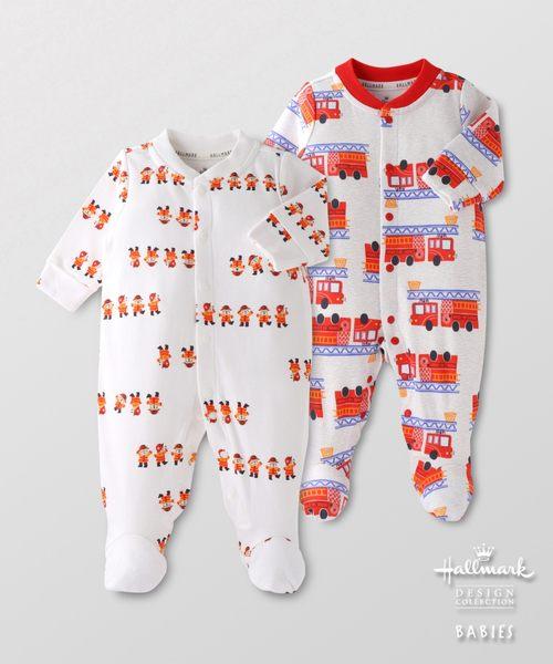 Hallmark Babies男嬰秋冬純棉消防隊包腳七分袖連身衣(兩件裝)HF3-A01-02-BB-PR