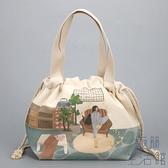便當袋帆布飯盒袋子保溫袋便當包束口大容量上班手提【極簡生活】