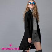 【SHOWCASE】簡約綁帶垂墜感針織長版薄外套(黑)-早秋精選外套