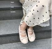全館83折 YUKI小樹家 自制敲可愛的圓頭綁帶芭蕾娃娃鞋韓國新款