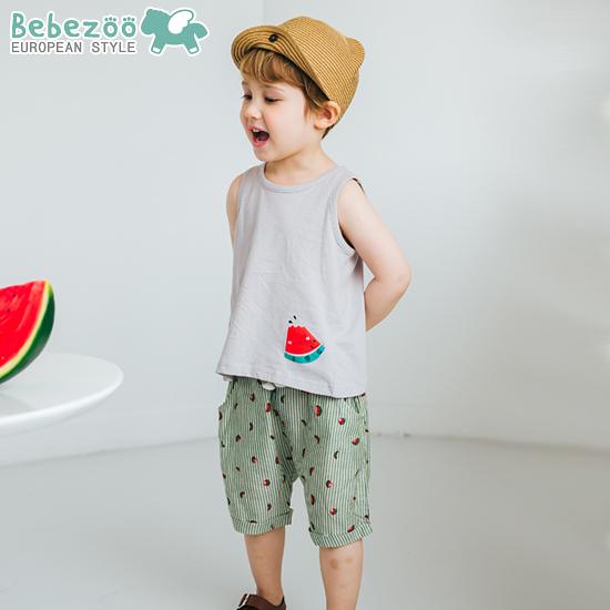 無袖套裝 韓國 Bebezoo 無袖上衣+短褲套裝2件組 - 灰色西瓜 BE18-M-SET224-GR