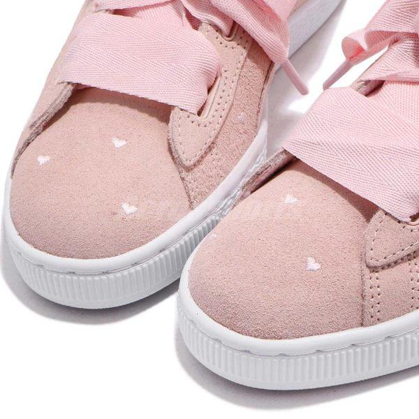 Puma 休閒鞋 Suede Heart Valentine JR 粉紅 白 麂皮 緞帶鞋 小愛心 情人節 大蝴蝶結 女鞋【PUMP306】 36513503