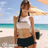 【R現貨】韓版 運動 字母高腰 鋼圈集中 可愛 性感 比基尼 bikini 泳衣