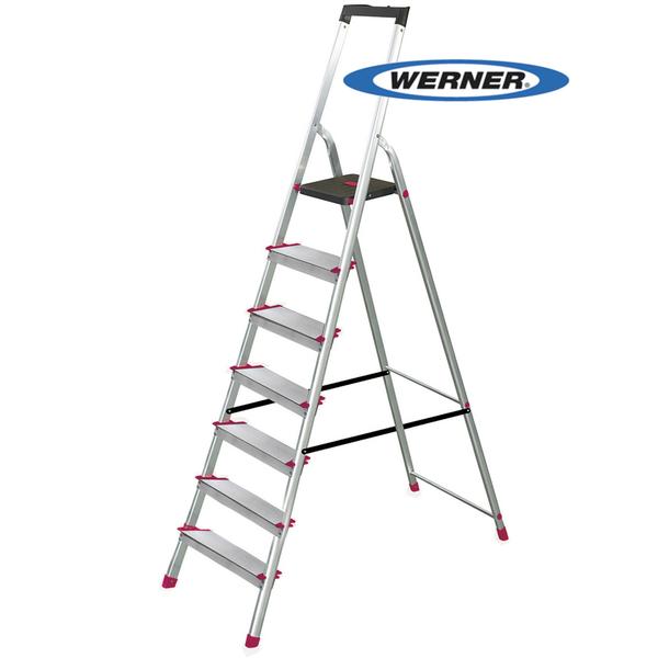 美國Werner穩耐安全梯-L237R-2 鋁合金寬踏板7階梯   大平台 鋁梯 A字梯 梯子