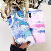 iPhoneX手機殼 可掛繩 復古水墨大理石紋 矽膠軟殼 蘋果iPhone8X/iPhone7/6Plus