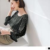 《AB12119-》配色點點微透膚拼接七分荷葉袖雪紡上衣 OB嚴選