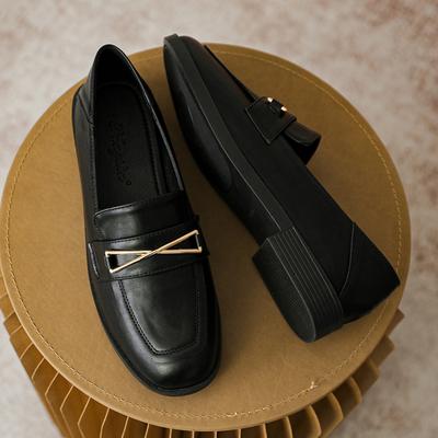 單鞋女2021新款春秋平底薄款夏樂福鞋小皮鞋英倫風高級感女鞋黑色豆豆鞋INS潮韓版