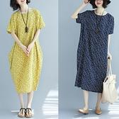 中大尺碼洋裝 2021春夏新款棉麻文藝寬鬆顯瘦圓領女裝中長款短袖印花打底連身裙