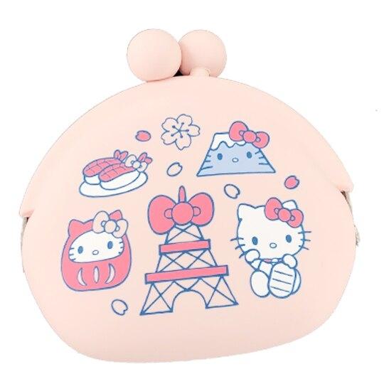 小禮堂 Hello Kitty 矽膠口金零錢包 口金包 耳機包 小物收納包 p+g design (粉 東京圖示) 4582406-78185