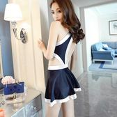 歐鯊泳衣女連體裙式小胸聚攏顯瘦遮肚溫泉韓國游泳衣保守黑白泳裝