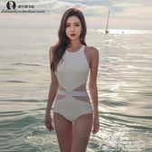游泳衣女性感連體三角大胸小胸聚攏修身遮肚顯瘦溫泉新款韓國泳裝花間公主