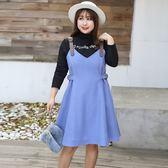 中大尺碼~英文圖案上衣個性背帶裙長袖套裝(XL~4XL)