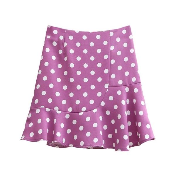 短裙女 a字半身裙女夏2020新款紫色波點高腰荷葉邊魚尾短裙顯瘦包臀裙子