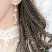 耳環 現貨 韓國氣質閃亮皇冠單鑽葉子流線耳環 夾式耳環 S91329 Danica 韓系飾品 韓國連線