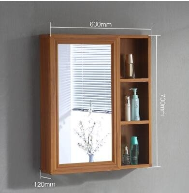 60cm白木紋太空鋁鏡櫃浴室鏡櫃鏡架梳妝鏡子JN