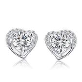 925純銀耳環(耳針式)鑲鑽-精美愛心生日情人節禮物女耳飾73ac6【巴黎精品】