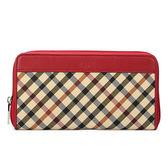 DAKS 經典斜格紋拉鍊長夾皮夾錢包(紅色)230128-11