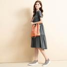 單一優惠價[H2O]休閒風後面褶襉抽褶設計針織長版洋裝 - 灰綠/粉色 #0684002