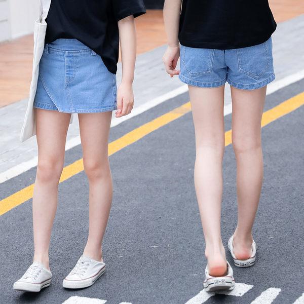 *╮小衣衫S13╭*中大童夏季俏麗牛仔棉短裙褲1080308