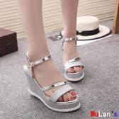 楔形涼鞋 坡跟涼鞋 平底 高跟鞋 粗跟 防滑厚底 魚嘴鞋