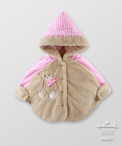 Hallmark Babies 女嬰秋冬毛絨泰迪熊夾棉連帽斗篷 HE3-F03-05-BG-MS