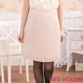 【RED HOUSE 蕾赫斯】格紋金蔥及膝裙(杏色) 滿1111折211
