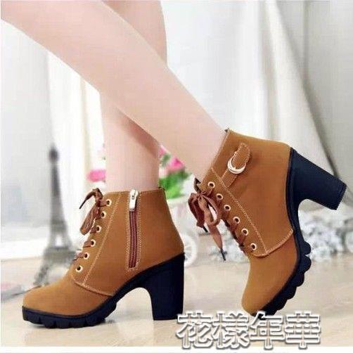 粗跟靴春秋女靴子韓版高跟鞋馬丁靴粗跟單靴子女繫帶厚底百搭學生短靴 快速出貨