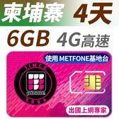 柬埔寨 4天 6GB高速上網 支援4G高速