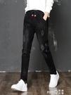 鬆緊腰牛仔褲女春2020新款韓版高腰黑色長褲子寬鬆顯瘦百搭哈倫褲  (pink Q 時尚女裝)