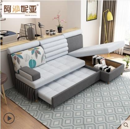 現代簡約多功能沙發床 可折疊小戶型雙人貴妃儲物兩用布藝沙發床 麥田家居館