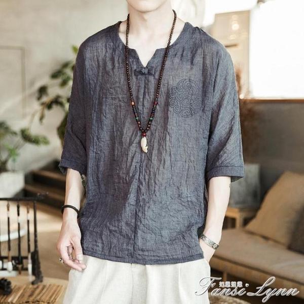 夏季短袖T恤男中國風打底衫亞麻V領體恤寬鬆大碼上衣棉麻印花漢服 范思蓮恩