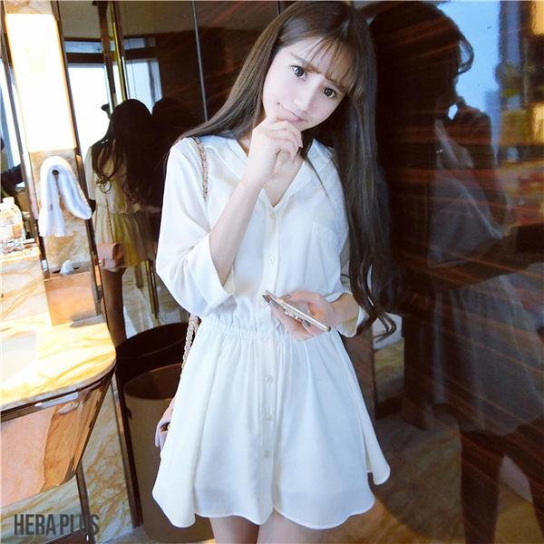 (免運)DE shop - 襯杉式翻領收腰顯瘦白色洋裝 - HL-826