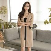 VK旗艦店 韓系氣質西裝領拼色修身顯瘦開叉長袖洋裝