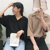 情侶T不一樣的情侶裝襯衫春裝2019新款七分袖韓版寬鬆復古港風純色襯衣
