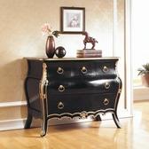 【水晶晶家具/傢俱首選】JF0509-3帝國3.5呎頂級桃花心實木法式黑金色五抽櫃
