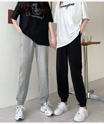 休閒褲M-2XL春裝 學院風新款潮百搭寬松休閑哈倫衛褲薄款運動褲女M028紅粉佳人
