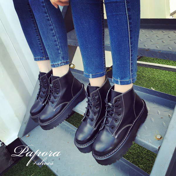 馬丁短靴‧英倫時尚復古厚底馬丁騎士短靴【KN054】黑(偏小)限量